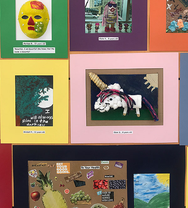 Drawings, paintings and collages created by young patients and displayed in the 2019 Comer Art Show